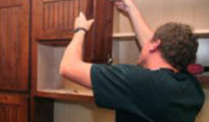 Installing new doors on a refaced cabinets